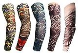 Body Art Tattoo Arm Ärmel Reisen Fahren Sport Ellenbogen Protektoren Kompression Arm Cover, Packung mit 5 (# 2)