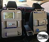 happyle Organizador para asiento trasero de coche, organizador de asiento de coche, bolsa de fieltro de lana, soporte de protección para botellas, cajas de Hankies, juguetes, organizador de coche