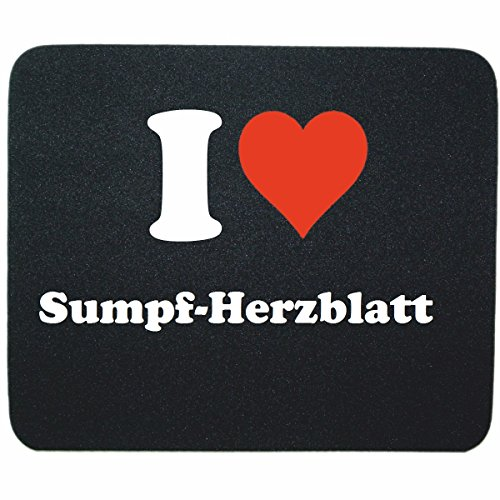 """Exklusive Geschenkidee: Mauspad """"I Love Sumpf-Herzblatt"""" in Schwarz, eine tolle Geschenkidee die von Herzen kommt- Rutschfestes Mousepad- Weihnachts Geschenktipp"""