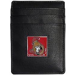 NHL Ottawa Senators Leather Money Clip/Cardholder Packaged in Gift Box, Black