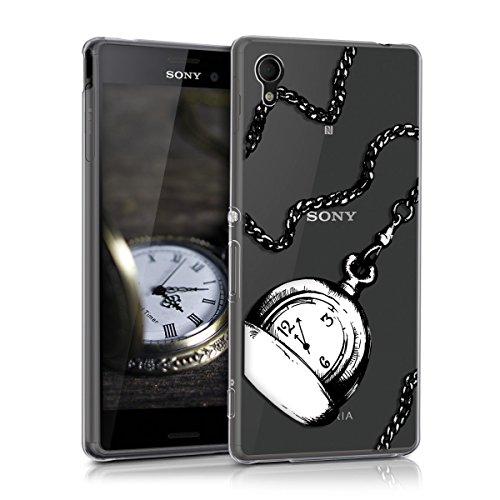 kwmobile Sony Xperia M4 Aqua Hülle - Handyhülle für Sony Xperia M4 Aqua - Handy Case in Schwarz Weiß Transparent