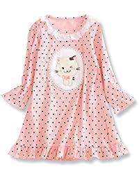 HOYMN Chemise de nuit à Manches Longue pour Enfant Bébé Fille 1-16ans & Imprimée Chat à Pois Pyjama Dentelle en coton Rose
