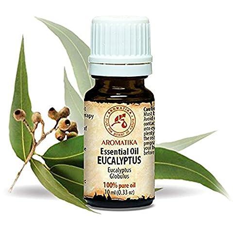 Eukalyptus Öl 100 % naturreines ätherisches 10ml, Reine & Natürliche , Eukalyptusöl 0,33 oz Eucalyptus Globulus, China - besten für Beauty / Stressabbau /Baden / Körperpflege / Wellness / Schönheit / Aromatherapie / Entspannung / Massage / Inhalation / Aroma diffuser / Duftlampe /Aroma / Raumbeduftung / Kosmetik Unverdünntes/ Glasflasche, von AROMATIKA