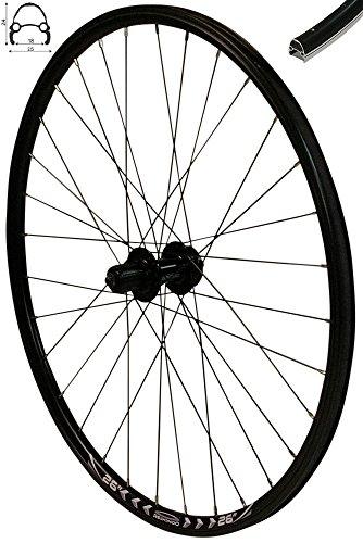 Redondo 26 Zoll Hinterrad Laufrad Fahrrad V-Profil Felge Schwarz 6-Loch Disc