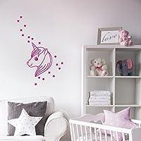 Wandaufkleber Wandtattoo Einhorn mit Sternen Wandsticker Sticker Wanddeko Kinderzimmer Baby Mädchen Unicorn Möbelaufkleber Türaufkleber
