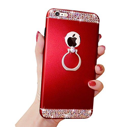 Case per iPhone 6S,Cover per iPhone 6 ,Bonice Ultra Slim Diamante Bling Glitter Lusso Specchio Cristallo Strass Morbida Rubber Bumper 360 Gradi [Rotazione Grip Ring Kickstand] con Supporto Dellanello Red