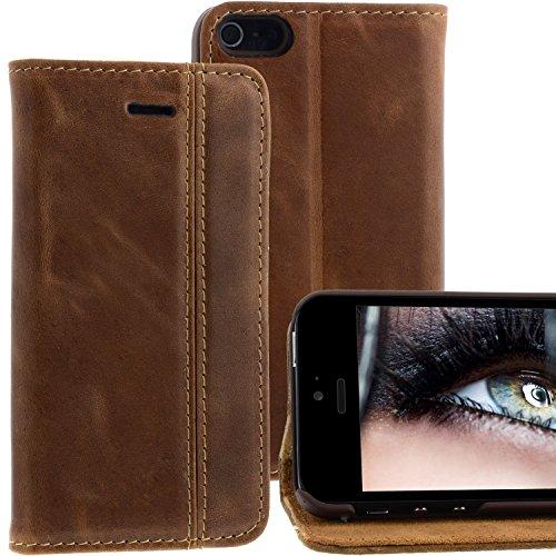 Blumax Apple iPhone 5/5s/SE Ultra-Slim Echtleder Flip-Case im Vintage-Look Croco Braun ohne Magnet Braun