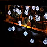 Solar Garden Lights String, Outdoor Christmas Fairy Lights 30ft 50 Led White Crystal Ball Decoration for Patio ,Garden ,Wedding,Party,Bedroom (White)