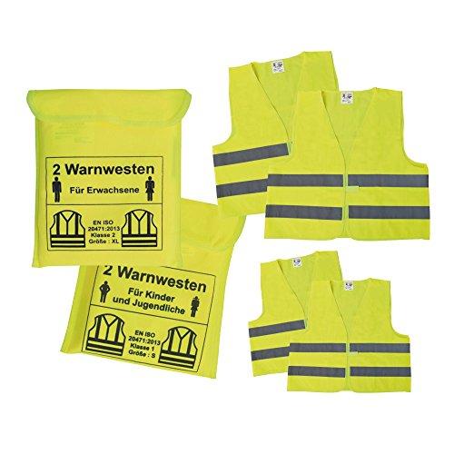 Preisvergleich Produktbild KFZ Warnwesten Sicherheitswesten Set für die ganze Familie 2 Erwachsenenwesten + 2 Kinderwesten
