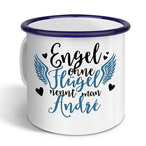 printplanet - Emaille-Tasse mit Namen André - Metallbecher mit Design Engel - Nostalgie-Becher, Camping-Tasse, Blechtasse, Farbe Blau, 400ml