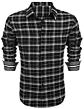 Coofandy Herren Hemd Slim Fit Kariert Freizeithemd Party Club Manschette mit Stickerei Langarmhemd Business Casual bügelleicht Schwarz XXL