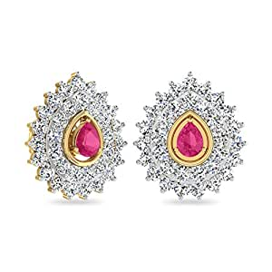 WearYourShine By PC Jeweller The Feriha Collection 18k Yellow Gold and Diamond Stud Earrings