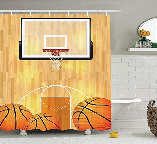 SHUHUI Sport-Dekor Sammlung Basketballplatz Ball und Hoop Madness Rim Court Parkett Hartholz Bild druckenBad Duschvorhang Elfenbein Orange Schwarz Orange Court Hotel