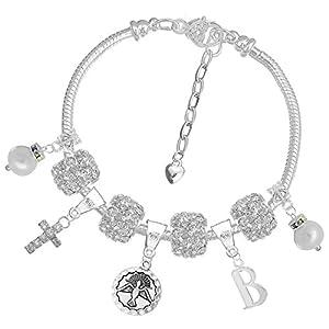 Charm Buddy Mädchen-Armband mit Namensanhänger, personalisierbar, glitzernd