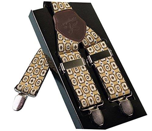 ACME - Bretelles Y entièrement réglable Imprimé Cuir Pour homme avec 3 clips élastique Solide Casual Pantalon Jeans Couleur 1