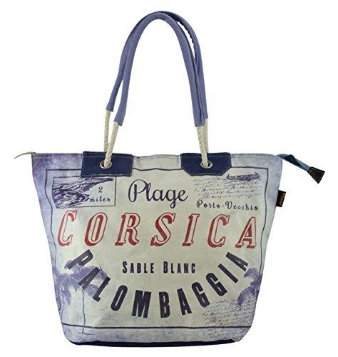 Sunsa Borse da Donna Vintage Borse a tracolla Borsette in Canvas / Telo olona con pelle 51703 grau