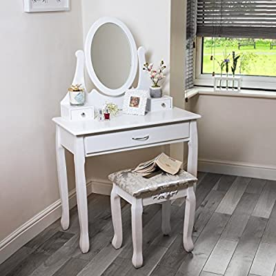 Dressing Table With Oval Mirror And Stool 3 Drawers Perfect For Bedroom Makeup Jewelry - cheap UK light shop.