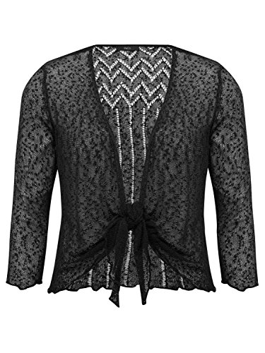 M&Co Ladies Classic 3/4 Sleeve Light Textured Popcorn Knit Tie Front Cover up Summer Shrug