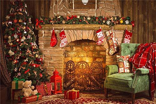 BuEnn Weihnachtstag Kulissen Foto Kamin Studio Vinyl Stuhl Fotografie Hintergründe Weihnachten 7x5FT -