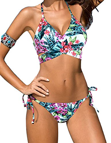 Lomon-Bikini-Traje-flores-Verde-Push-up-De-Bao-Conjunto-Bra-acolchado-Baadores-Halter-Backless-Swimwear-Brasileo-L-Rojo