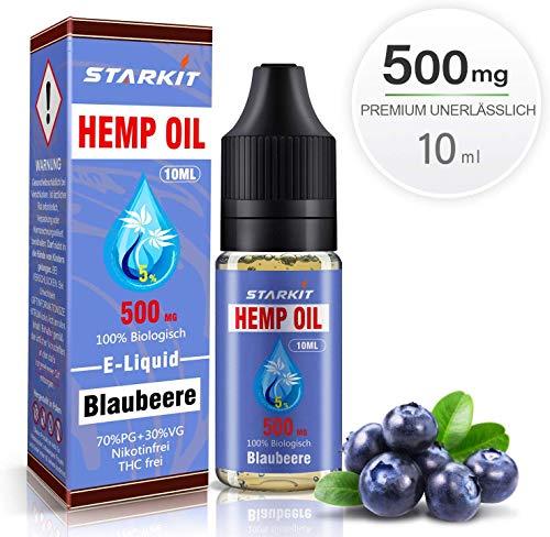 STARKIT® CBD E Liquid 500mg, Vape Öl 10ml mit 5% Cannabidiol Hanf Öl für E Zigarette Starter Set SMOK E Shisha, PG70/VG30 Eliquid, ohne Nikotin, ohne THC (Blaubeere Geschmack,500mg)