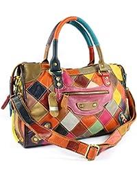 S-Kiven Multicolour Patchwork Real Leather Bag Handbag Shoulder Cross Body Hobo
