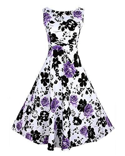 KAXIDY Femme Filles Robes Vintage Classique Floral Robes Violet