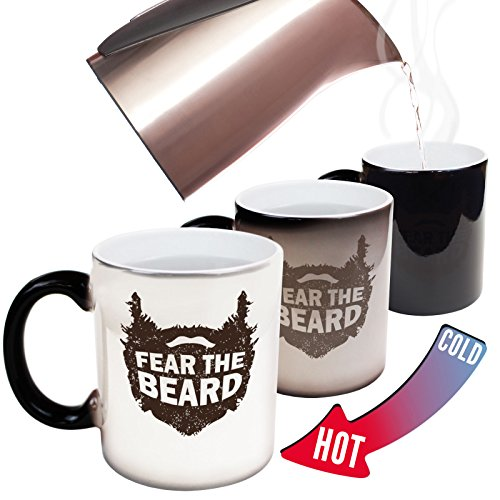 123t Funny Mugs Fear The Beard - Beard Moustache Grooming Men Manly Joke Humour christmas secret santa HEAT COLOUR CHANGING NOVELTY MUG - GIFT BOXED