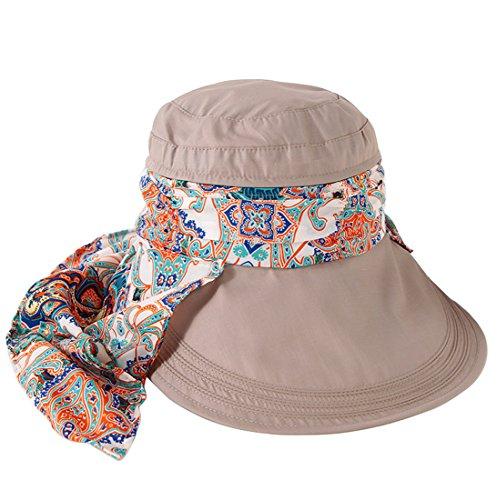 Kuyou Sommer Strand Hat Damen Outdoor Sport Hut Anti-UV Sonnenhut (Khaki)