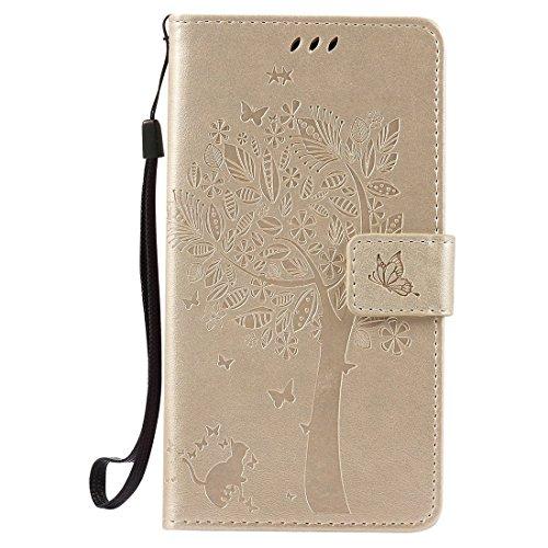Oneplus 3 / Oneplus 3T Hülle, Chreey Prägung [Katze Baum] Muster PU Leder Hülle Flip Case Wallet Cover mit Kartenschlitz Handyhülle Etui Schutztasche [Gold]