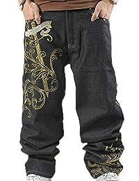 Huateng Jeans a Gamba Larga Jeans Larghi Jeans a Gamba Larga Jeans  Skateboarder con Ricamo Hip 5062aed19b34