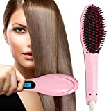 Seven Beauty Professional Ceramic Hair Straightener Brush with Temperature Control for Women (Pink)