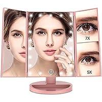 Espejo Maquillaje con Luz,[Regalo de San Valentín] BESTOPE 21 LEDS Espejo Cosmético, Pantalla Táctil Ajusta luz, Tríptica Aumentos 1x, 5x, 7x, Rotación ajustable de 180 °