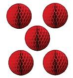 NectaRoy Wabenball Wabenbälle Honeycombs Pompoms Ball Hochzeit Partei Feier Dekoration für Hochzeit/Gebutztag/Baby Shower/Weihnachten (Rot)