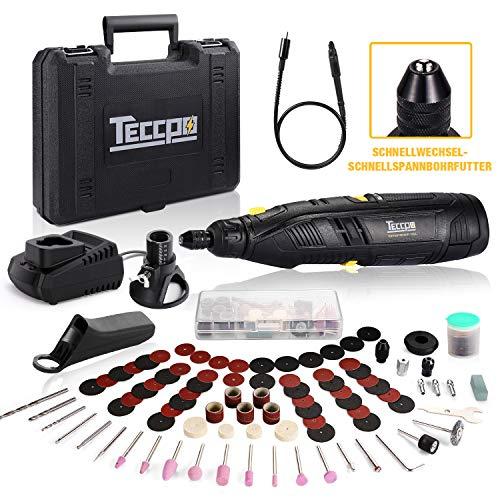 Akku Multifunktionswerkzeug, TECCPO 12V akku Drehwerkzeug, 6 variable Drehzahlen von 5000 bis 28000 U/min, 80 Zubehör, Flex Welle, 3 Backenfutter, 2.0 Ah Li-lon Akku, Leicht zu transportieren -TDRT03P