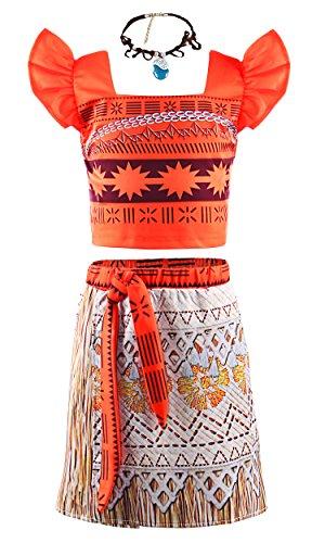 ssin Vaiana Karneval Verkleidung Mädchen Party Moana Kostüm (2-3 Jahre, Orange) (Halloween In Diesem Jahr)
