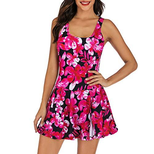 ingkog, Frau Bademode Einfarbiges Swimsuit Rüschen Hals Hängen Bikini Sets Zweiteilige Schwimmanzug mit Hoher Taille Strandkleidung Blume Strandmode Kleid(Hot Pink,XL) ()
