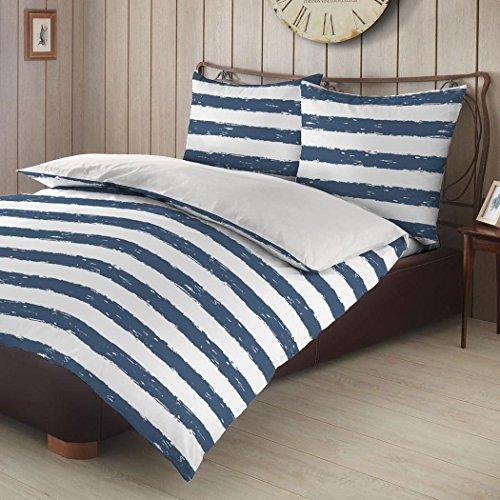 G Bettwarenshop Biber Wendebettwäsche Streifen blau 240x220 cm + 2X 80x80 cm