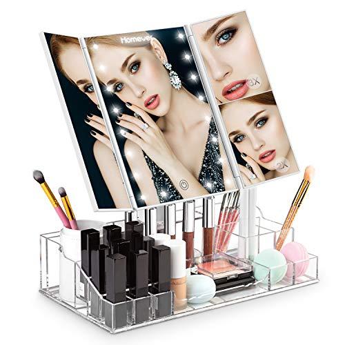 Homever Miroir de maquillage tri-fold, organisateur de maquillage acrylique Miroir de vanité éclairé avec 21 lumières LED, grossissement 1x / 2x / 3x, rotation de l'écran à 180 degrés, dimmable d'alimentation double , Mise à niveau en 2018
