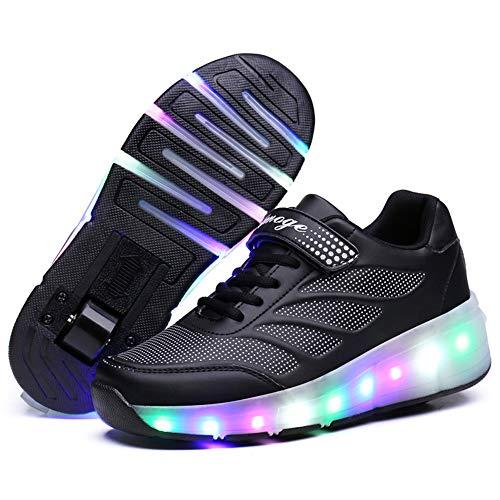 Zapatillas con Ruedas,Unisex Niños LED Luz Parpadea Deportes al Aire Libre Luminosas...