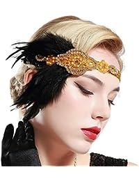 BABEYOND Años 20 Flapper Diadema de Plumas Diadema Gatsby Vintage Cinta para  el Pelo con Cuentas de Cristal Accesorios Vintage Disfraz… 8d0877bd0cd1