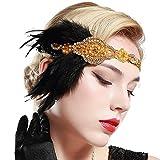 BABEYOND Años 20 Flapper Diadema de Plumas Negras Diadema Gatsby Vintage Cinta para el Pelo con Cuentas de Cristal Accesorios Vintage Disfraz Gran Gatsby Fiesta Temática Prom (Dorado)
