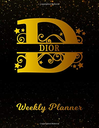 Dior Weekly Planner: 2 Year Personalized Letter D Appointment Book | January 2019 - December 2020 | Black Gold Cover Writing Notebook & Diary | ... | Plan Days, Set Goals & Get Stuff Done