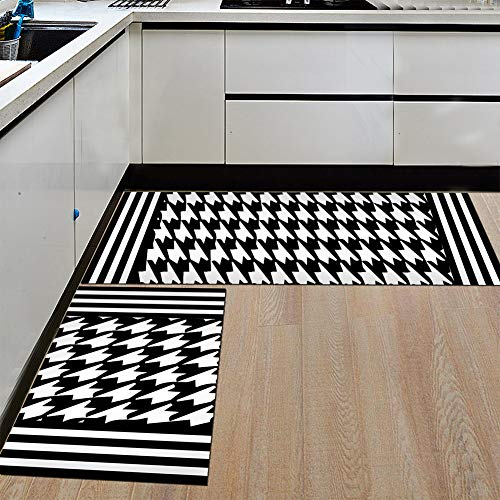 Hahnentritt-bad (Bodenmatte wasserabsorbierende teppich, 2 stücke rechteck rutschfeste weiche für haus bad küche Hahnentritt)