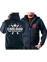 Veste à capuche pour supporter des cHICAGO fIRE dEPT., haches et emblème cFD