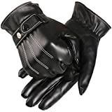 Malloom® Mens Luxurious PU Leather Winter Super Driving Warm Gloves Cashmere