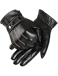 Amonfineshop(TM) Mens Luxurious PU Leather Winter Super Driving Warm Gloves Cashmere