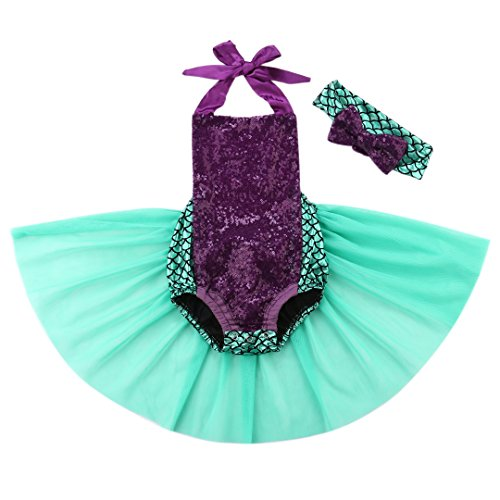 Wide.ling Kinder Mädchen Meerjungfrau Outfit Kostüm Kleinkind Bekleidungsset Neckhold Strampler + Stirnband Set Prinzessin Kostüm Cosplay Halloween Kinderkleidung (80(6-12 Monate)) (Meerjungfrau-outfit Für Mädchen)