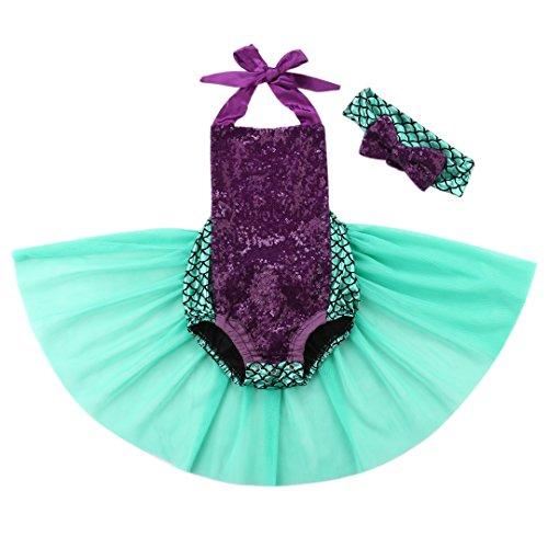 Wide.ling Kinder Mädchen Meerjungfrau Outfit Kostüm Kleinkind Bekleidungsset Neckhold Strampler + Stirnband Set Prinzessin Kostüm Cosplay Halloween Kinderkleidung (90(12-18 Monate)) (Kleinkind Meerjungfrau Outfit)
