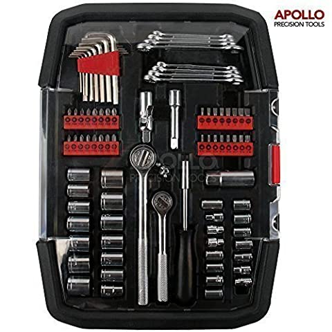 Apollo 98 Piece Spanner & Socket Tool Set for the DIY Automotive Mechanic Enthusiast including Most Popular SAE & Metric Sizes Sockets with Complimentary 1/4 and 3/8 Inch Ratchet Drive Handles, Combination Wrenches and Comprehensive Screwdriver Bit Assortment in a Sturdy Storage Case that Keeps Tools Secure and Tidy